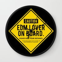 edm Wall Clocks featuring EDM Lover On Board. Please Keep Distance (black) by DropBass