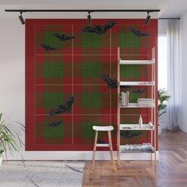 Scottish Tartan Pattern-Black Gothic Bats Art Design Wall Mural