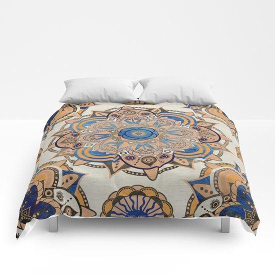 blue and gold mandala comforters by mantra mandala society6. Black Bedroom Furniture Sets. Home Design Ideas