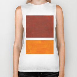 Burnt Sienna Yellow Ochre Rothko Minimalist Mid Century Abstract Color Field Squares Biker Tank
