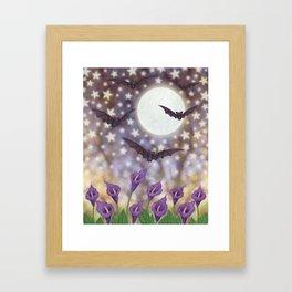 the moon, stars, bats, & calla lilies Framed Art Print