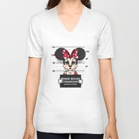 minnie mouse V-neck T-shirts featuring Bad Guys / Minnie Mouse by mebz art