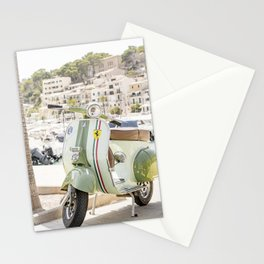 Vespa scooter in the port of Port de Sóller, Mallorca Stationery Cards