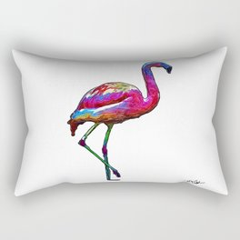 One Step At A Time Abstract Flamingo Rectangular Pillow