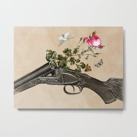 One Gun, One Rose, Two Moths Metal Print