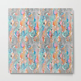 rainy day balinese ikat mini Metal Print