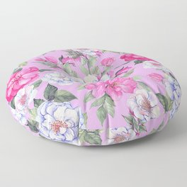 Pink And Pastel Violet Floral Pattern On Soft Lilac Floor Pillow