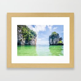 Clear Water and White Limestone Cliffs in Thailand Fine Art Print Framed Art Print