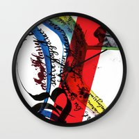 calligraphy Wall Clocks featuring Calligraphy 1 by omerfarukciftci