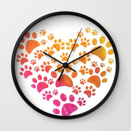 Animal Paws Heart design For Dog Lovers Wall Clock
