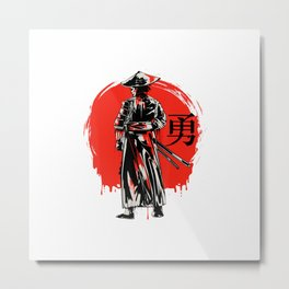Japanese Samurai Bushido Warrior Miyamoto Katana Sword Fight T-Shirt Metal Print