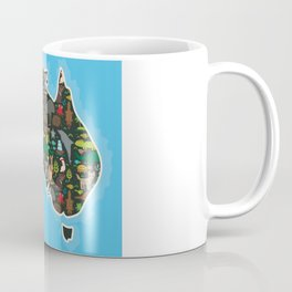 map of Australia. Wombat Echidna Platypus Emu Tasmanian devil Cockatoo kangaroo dingo octopus fish Coffee Mug