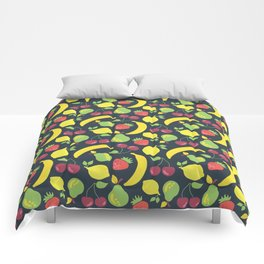 Illustrated fruits pattern on a black background Comforters