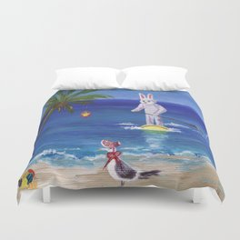 Easter Bunny at the Beach Duvet Cover