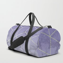 Geometric Marble Ultraviolet Purple Gold Duffle Bag