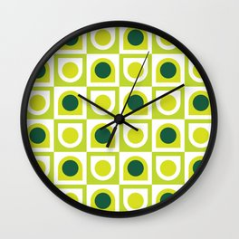 Geometric Pattern 210 (lime green) Wall Clock