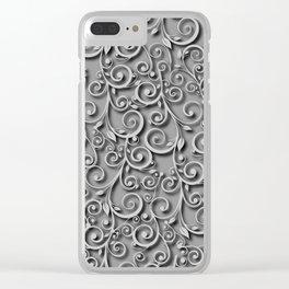 Elegant Gray Monochrome Scroll Swirls Background Clear iPhone Case