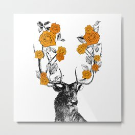 The Stag and Roses | Deer and Flowers | Orange | Vintage Stag | Vintage Deer | Antlers | Woodland | Metal Print