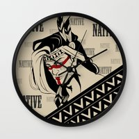 native american Wall Clocks featuring Native by memo_alatouly