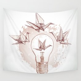 Origami paper cranes and light Wall Tapestry