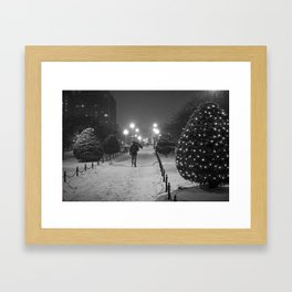 Boston Public Garden Snow Storm Ma Massachusetts Bridge Lights Umbrella Black And White Framed Art Print