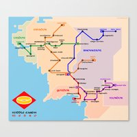 middle earth Canvas Prints featuring Middle-Earth metro map by tuditees