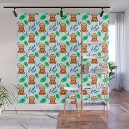 Funny cute little meditating relaxed chilling zen sloths, tropical exotic green blue leaves pattern Wall Mural