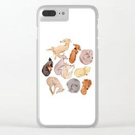 Sleepy dogs Clear iPhone Case
