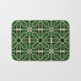 Art Deco Floral Tiles in Emerald Green and Faux Gold Bath Mat