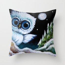 TINY BLUE OWL FOUND THE HOLIDAY PINE TREES Throw Pillow
