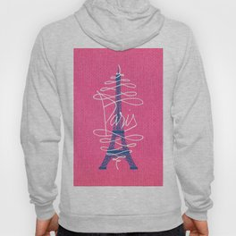Girly Eiffel Tower Pink Whimsical Paris Typography Hoody