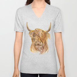 Highland Cow Watercolor Unisex V-Neck