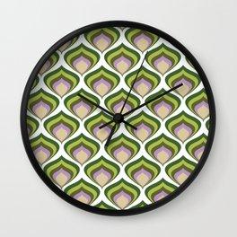 1970s retro avocado wallpaper Wall Clock