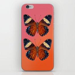 Hamadryas Amphinome Butterfly - Dark Orange & Deep Blue Black iPhone Skin