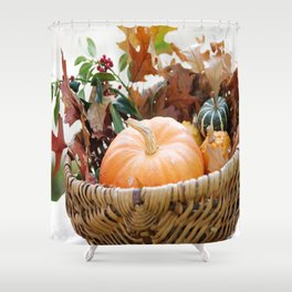 Fresh pumpkin in basket Shower Curtain