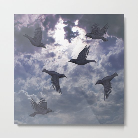 crows in the stormy sky Metal Print