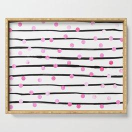 Blush pink black watercolor modern stripes polka dots Serving Tray