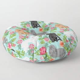 Toy Poodle dog breed pet portraits hawaiian floral flowers dog pattern custom dog lover art Floor Pillow