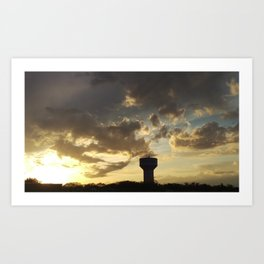 Sunset over Water Tower 2 Art Print
