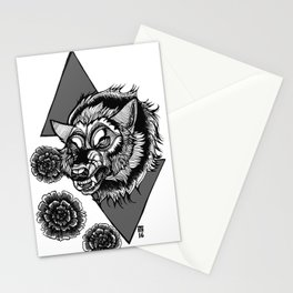 Wolf's Head and Flowers Stationery Cards
