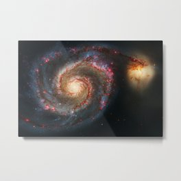 Whirlpool Galaxy and Companion Galaxy Metal Print