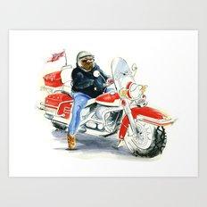 Harley Davidson Biker Art Print