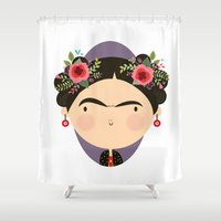 frida Shower Curtains featuring Frida by Maria Jose Da Luz