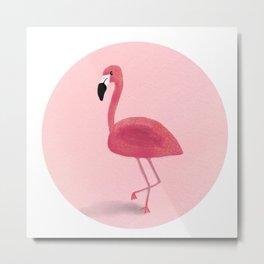 Sweet Pink Flamingo Illustration Print  Metal Print