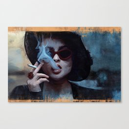 Marla Singer Smokes A Cigarette Behind Sunglasses - Fight Canvas Print