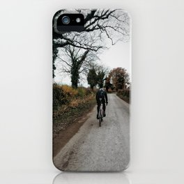 Winter road cycling iPhone Case