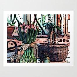 Wicker Basket And Flowers Art Print