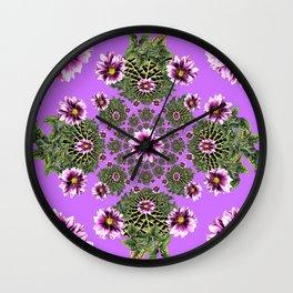 Lilac Purple Abstract Dahlias Garden Art Wall Clock