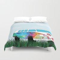 vw bus Duvet Covers featuring Hippie Bus by KookyWhale