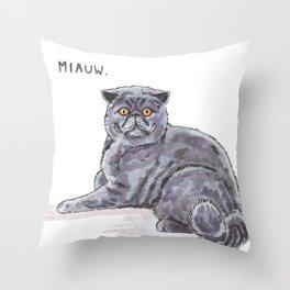Meow/Miauw Throw Pillow